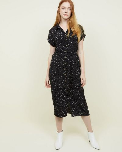 black-star-print-midi-shirt-dress