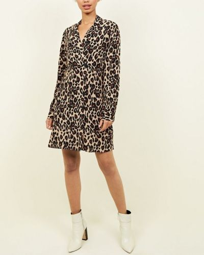 brown-leopard-print-double-breasted-shirt-dress