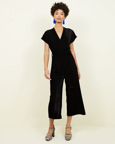 black-ribbed-velvet-wrap-culotte-jumpsuit