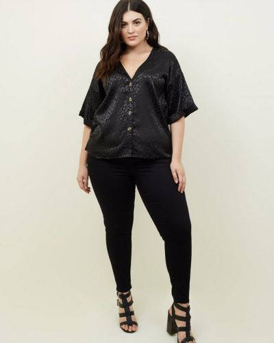 curves-black-jacquard-button-through-front-shirt