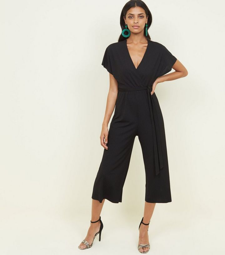 black-ribbed-wrap-front-culotte-jumpsuit