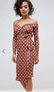 Boohoo Rust off shoulder dress