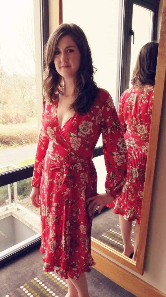 7 Pleated Red Floral dress