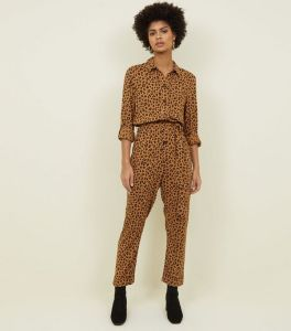 new look brown-leopard-print-button-front-jumpsuit-