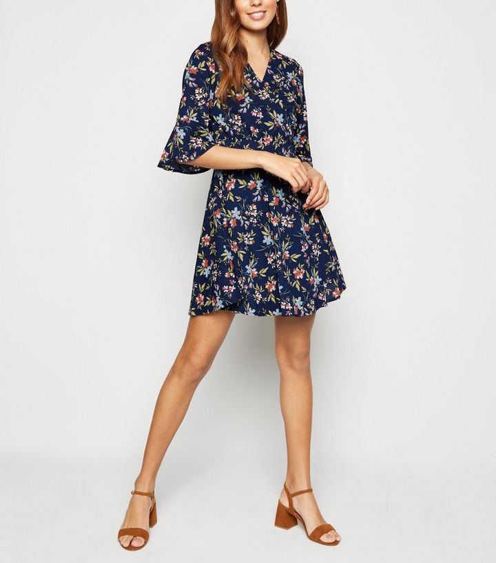 blue-vanilla-blue-floral-frill-sleeve-wrap-dress