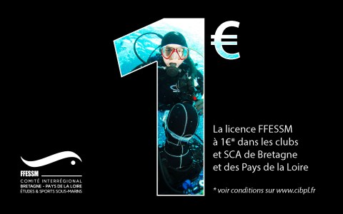 La licence FFESSM à 1€ pour les nouveaux Niveau 1