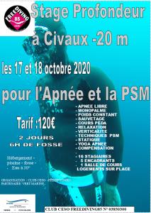Stage Apnée Civaux 17 et 18 octobre 2020
