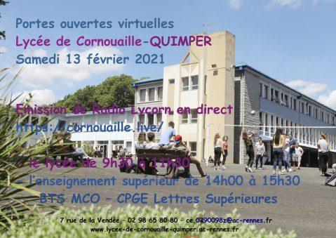 Portes ouvertes virtuelles Lycée de Cornouaille-QUIMPER Samedi 13 février 2021