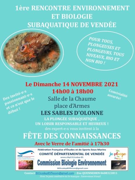 Rencontre biologie et environnement, une organisation CODEP85 le 14 novembre