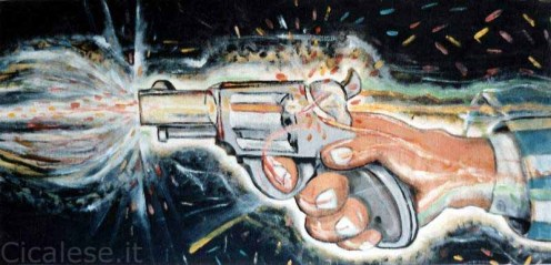 SPARARE (1986) olio e smalto su tela (53x230)