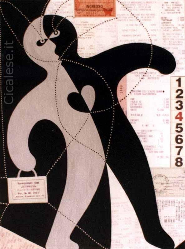 ACROBATA (1997) acrilico smalto collage su tela (40x30)