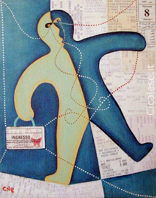 EQUILIBRISTA (1999) olio e collage su tela (30x24)