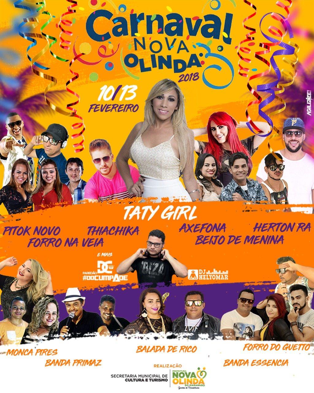 É neste sábado (9) a abertura do carnaval de Nova Olinda do Maranhão
