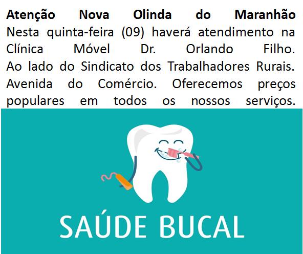 Atenção ! A clínica móvel Dr. Orlando Filho fará atendimentos odontológicos nesta quinta-feira