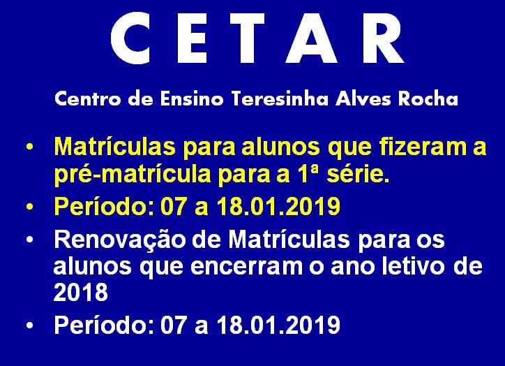 Matrículas para o 1º ano do Ensino Médio serão feitas a partir do dia 07 no CETAR