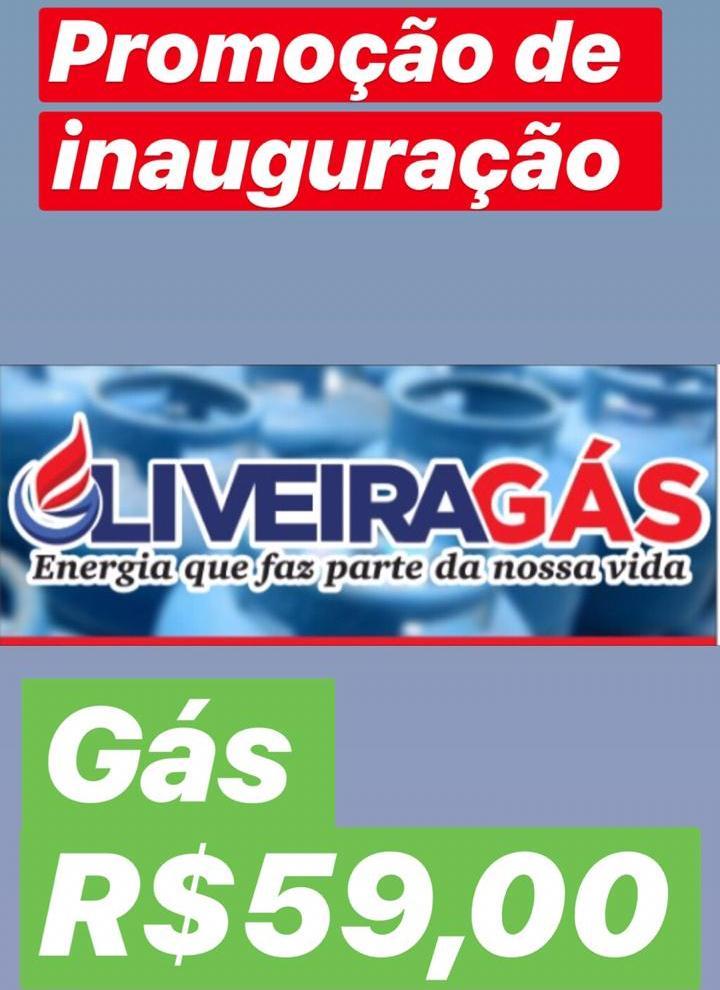 Atenção! Gás por 59,00 na inauguração do Oliveira Gás nesta sexta-feira (23)