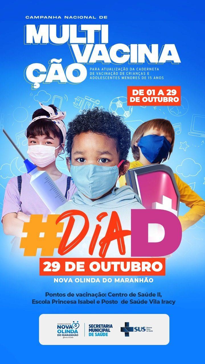 Campanha de Multi Vacinação será realizada dia 29 em Nova Olinda do Maranhão