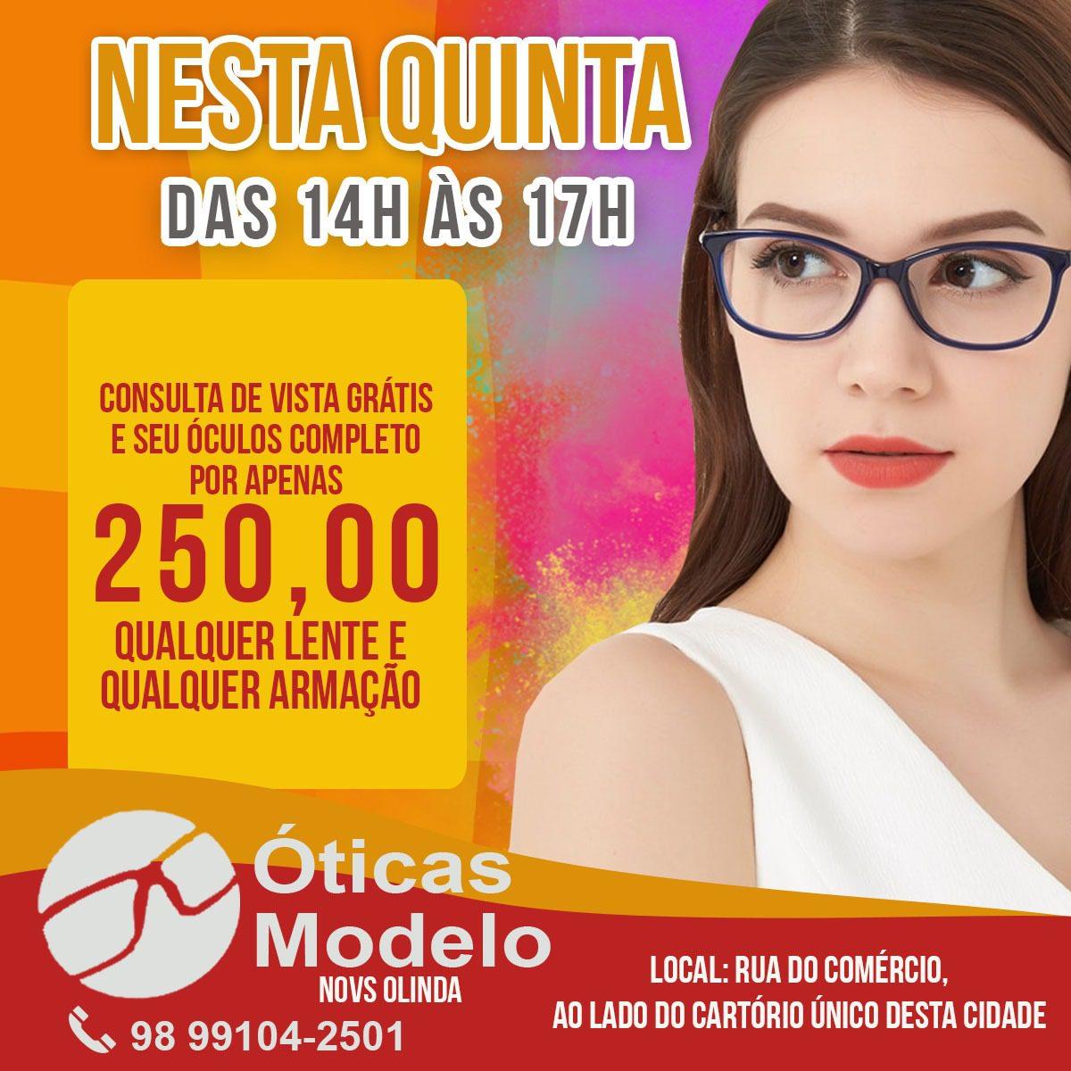 Atenção: Ótica Modelo realiza nesta quinta-feira (28) consultas de vista em Nova Olinda do MA