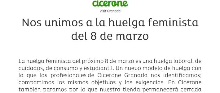 Cicerone apoya la huelga feminista del 8 de Marzo
