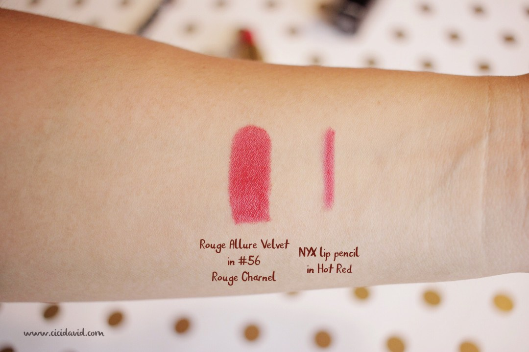 Chanel Rouge Allure Velvet lipstick in #56 Rouge Charnel swatch and NYX lip pencil in Hot Red swatch