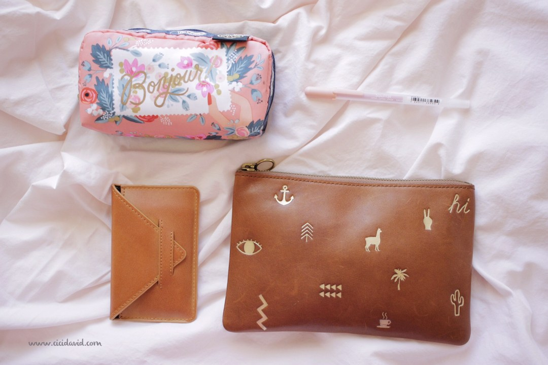 Rifle Paper Co. Bonjour bag, Urban Outfitters wallet, Sakura Soufflé pen, Madewell Icons Pouch