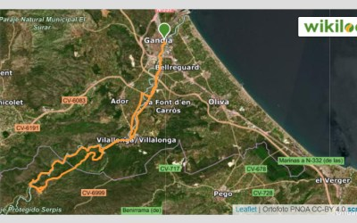 Ruta mountain bike Gandia – Villalonga – La Safor – Lorxa – Via verde Serpis – Vilallonga – Gandia