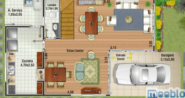 As plantas de casas pequenas tem que atender as necessidades do terreno