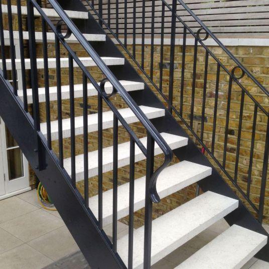 Bespoke Iron and Limestone staircase for Knightsbridge garden
