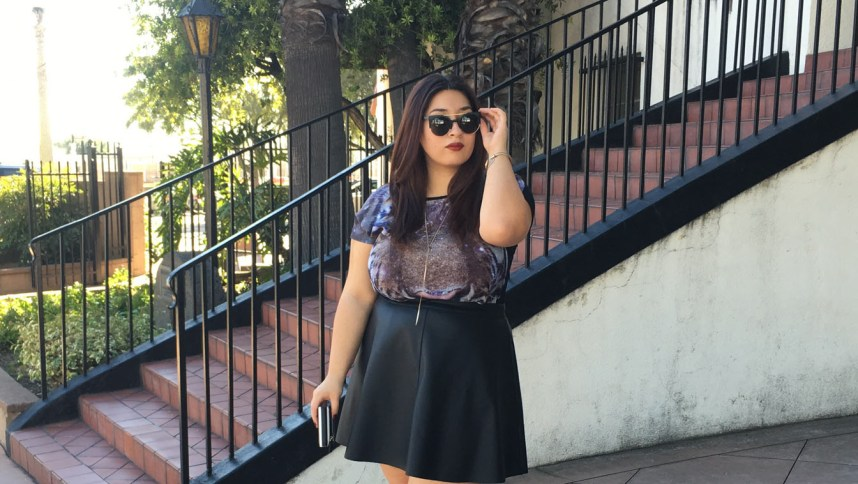 leather skirt, skater skirt, how to wear a skater skirt, how to wear a leather skirt, plus size fashion , style, leather, faux leather, graphic tee, booties, boots, plus size fashion, plus size outfits