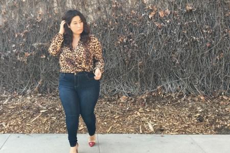 leopard print, leopard, bodysuit, style, plus size, trendy, stylish, jeans, heels