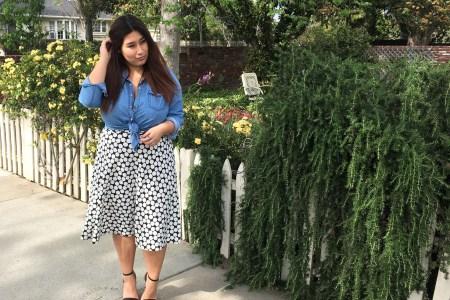 polka dots, fashion, skirt, chambray shirt, denim, dressy, casual, plus size