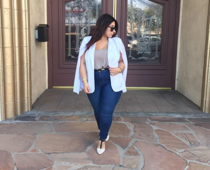 white blazer, blazer, cape blazer, work wear, jeans, outfit, plus size