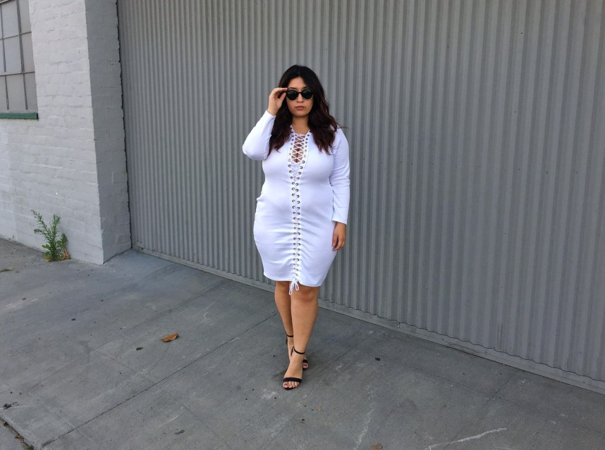 white dress, lace up dress, plus size, fashion