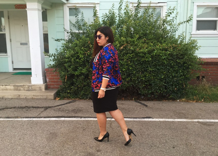 black dress, floral print, jacket