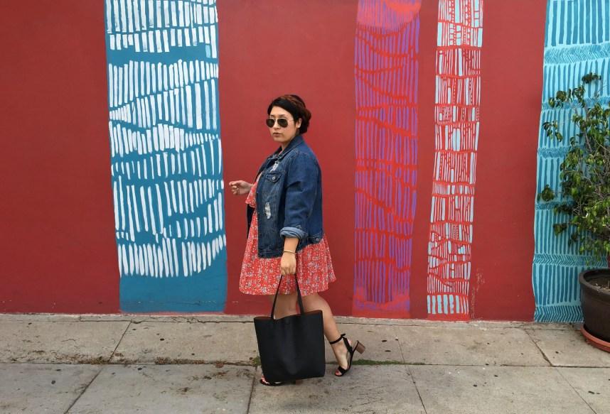 dress, floral print, jean jacket