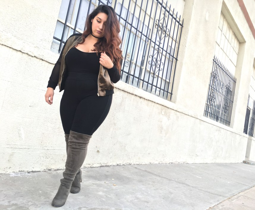 agaci store, bomber jacket, over the knee boots, fall