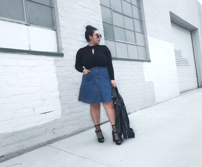 custome made, denim skirt, moto jacket