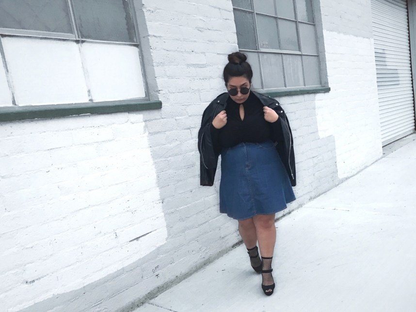 custom made, denim skirt, moto jacket