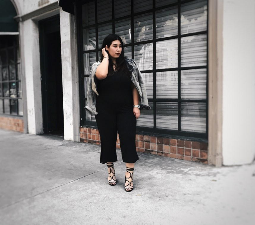 culottes, all black, moto jacket