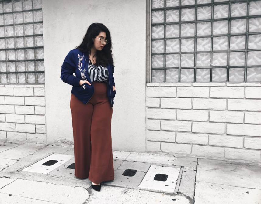 trousers, stripes, bomber jacket