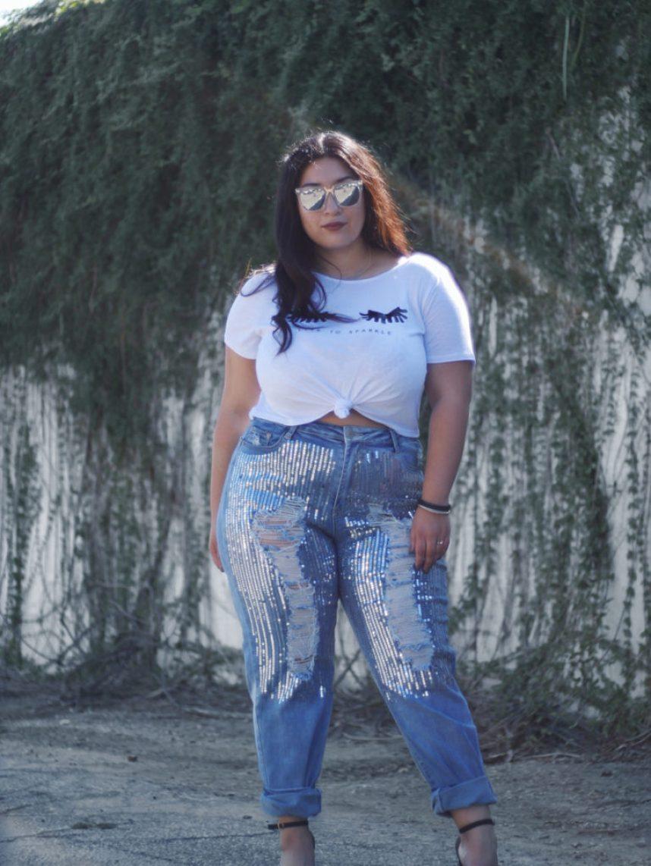 sequin, jeans, tee
