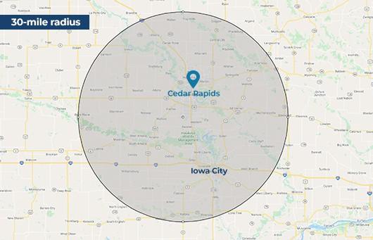 25-30 mile radius around Cedar Rapids