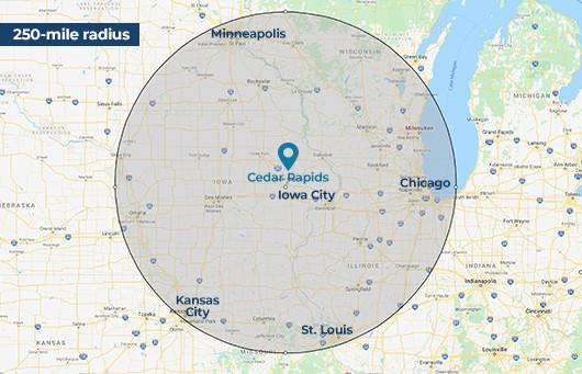 250 mile radius from Cedar Rapids