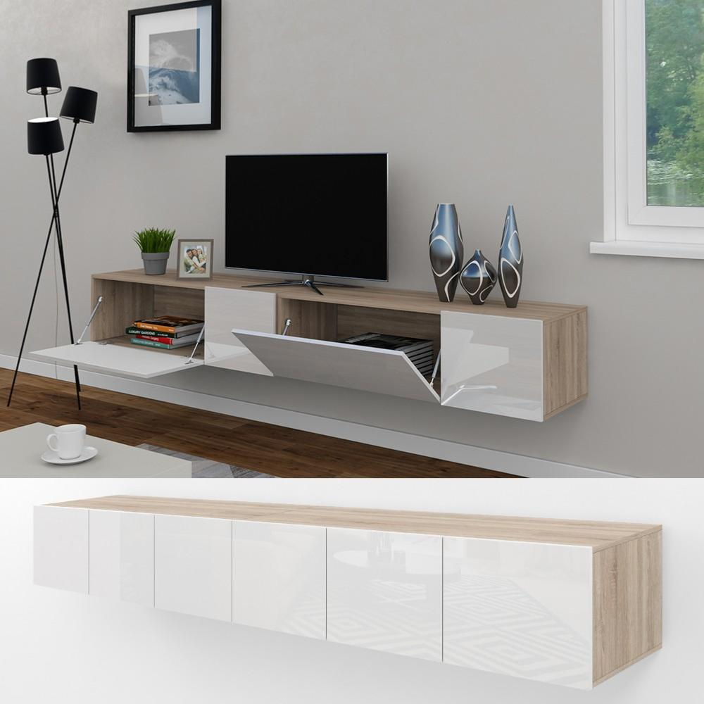 meuble tv buffet blanc brillant chene 240 cm