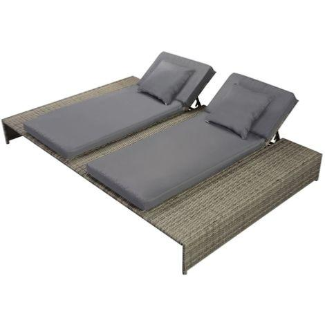 double chaise longue resine tressee