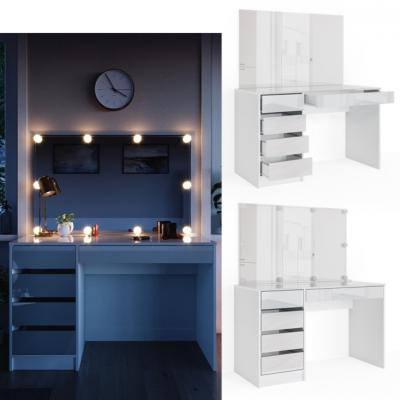 Coiffeuse Table Maquillage Blanche Grand Miroir Led Cielterre Commerce