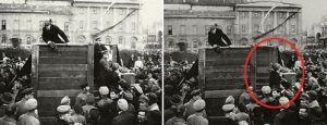 Discurso de Lenin, Kamenev y Trotsky a la derecha. Eliminar a tu enemigo