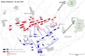 Aliados en azusl, franceses en rojo, prusianos en gris.