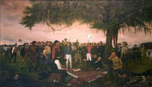 Santa Anna se rinde ante Houston (William Henry Huddle).