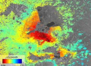 Mapa de radar con las zonas de hundimiento